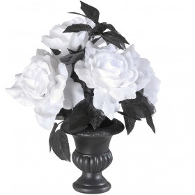 Vases & 6 Color Change Light White Roses, Fancy Dress (Halloween)