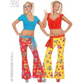 70S Flower Pants Womens Fancy Dress Costume Ladies (1970S)