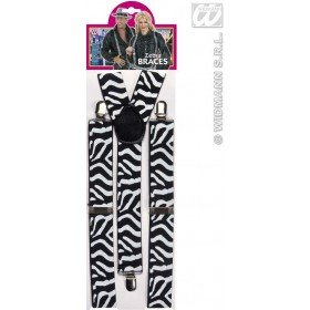 Black - White Zebra Braces - Fancy Dress (Animals)
