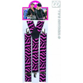 Black - Pink Zebra Braces - Fancy Dress (Animals)
