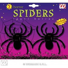 Flocked Spiders 10Cm Set 2 - Fancy Dress (Halloween)