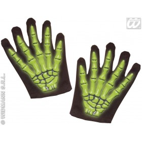 Skeleton Gloves 3D Neon For Kids 3 Cols - Fancy Dress (Halloween)