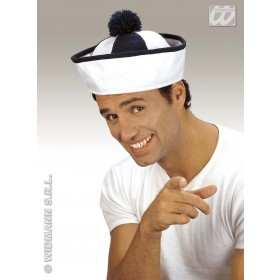 Sailor Hat Fabric Blue/Wht W/Bobble - Fancy Dress (Sailor)