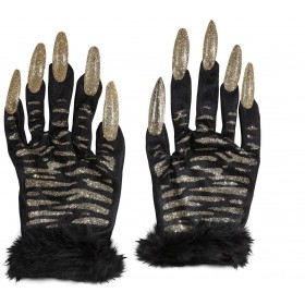 Tiger Gloves With Gold Glitter Nails - Fancy Dress (Halloween)