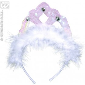 Tiara White Sequin W/Marabou And Gems - Fancy Dress