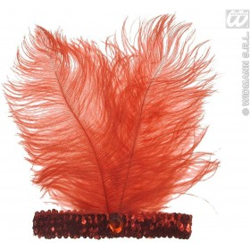 Red Sequin Headbands W/2 Feathers And Gem - Fancy Dress