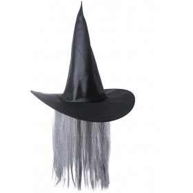Witch Hat Satin With Hair - Fancy Dress (Halloween)