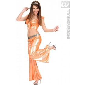 Woman Size Orange Holographic Sequin Pants, Fancy Dress