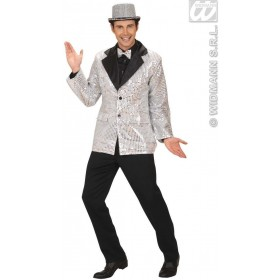 Sequin Jacket W/Satin Collar - Silver - Fancy Dress