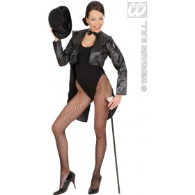 Tailcoat Black Satin Womens Fancy Dress Costume Ladies