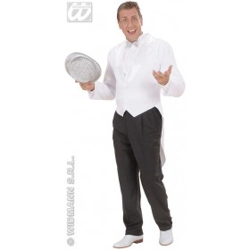 Mens White Lined Tailcoat Fancy Dress Costume