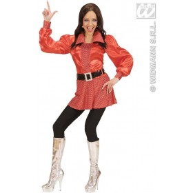 Red Shirts W/Hologr.Sequins Belt Woman'S Costume Ladies