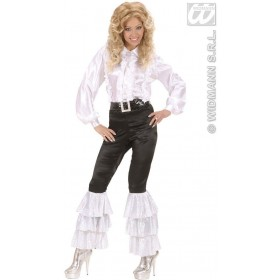 Black Satin Pants W/White Sequins Woman'S Costume