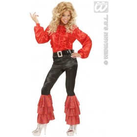 Black Satin Pants W/Red Sequins Woman'S Costume Ladies