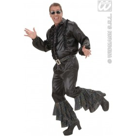 Black Satin Pants W/Sequins Belt Mens Costume