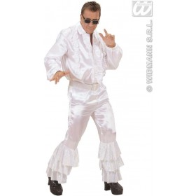 White Satin Pants W/Sequins Belt Mens Costume