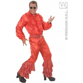 Red Satin Pants W/Sequins Belt Mens Fancy Dress Costume