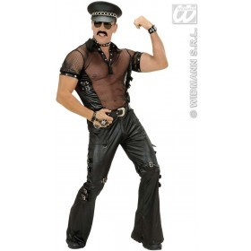 Blk Leatherlook Pants Man Fancy Dress Costume Mens