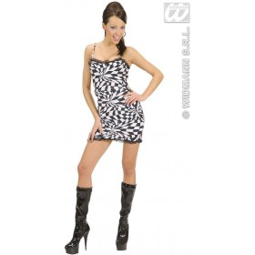 Black/White Chequered Dress Fancy Dress Costume Ladies