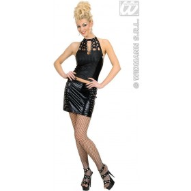 Studded Top And Skirt Black Fancy Dress Costume Ladies