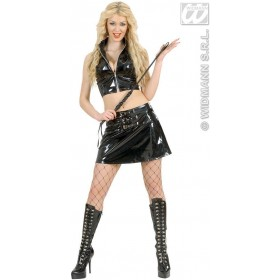Black Vinyl Top And Skirt Fancy Dress Costume Ladies