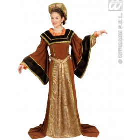 Tudor Woman With Dress, Belt, Hat Fancy Dress Costume (Old English)