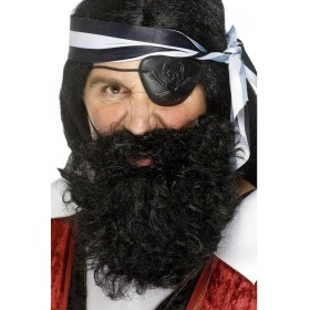Pirate Beard Black - Fancy Dress Mens (Pirates)