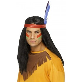 Native American Brave Wig - Fancy Dress Mens (Cowboys/Native Americans)