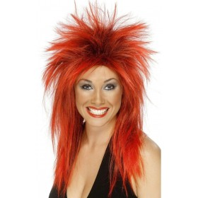 Rock Diva Wig - Fancy Dress Ladies (1980S)(Red)