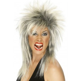 Rock Diva Wig - Fancy Dress Ladies (1980S)(Grey/Silver)