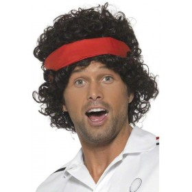 Eighties Tennis Player Wig Fancy Dress Mens