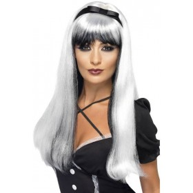 Bewitching Wig, Silver Over Black (Halloween Wigs)