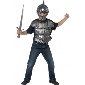 Childs Medieval Helmet And Armour Set Fancy Dress Accessory