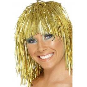 Gold Cyber Tinsel Wig - Fancy Dress Ladies (1970S)