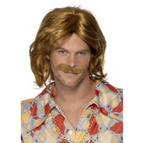 1970'S Super Trouper Wig Moustache Fancy Dress Mens (1970S)- Blond