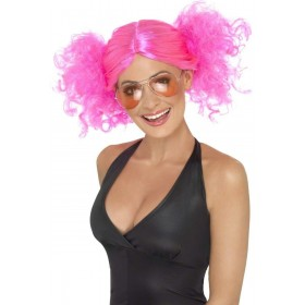 1980'S Bunches Wig Fancy Dress Ladies (1980S) - Pink