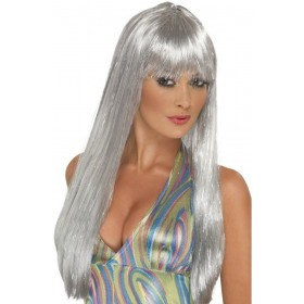 Glitter Disco Wig Fancy Dress Ladies (1970S) - Silver