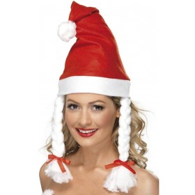 Santa Hat With Plaits - Fancy Dress (Christmas)