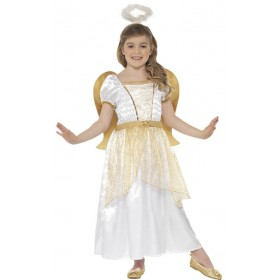 Girls White & Gold Angel Princess Fancy Dress Costume
