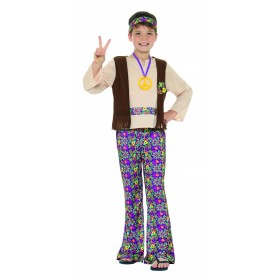 Hippie Boy Costume, with Top, Attached Waistcoat Fancy Dress