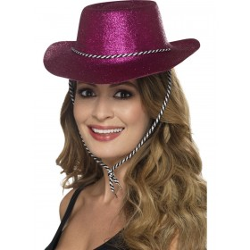 Cowboy Glitter Hat, Pink, with Chord Fancy Dress Accessory