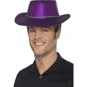 Cowboy Glitter Hat, Purple, with Chord Fancy Dress Accessory