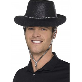 Cowboy Glitter Hat, Black, with Chord Fancy Dress Accessory