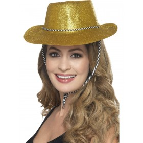 Cowboy Glitter Hat, Gold, with Chord Fancy Dress Accessory