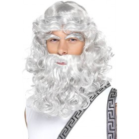 Zeus Wig (Legends/Myths Fancy Dress Wigs) - White
