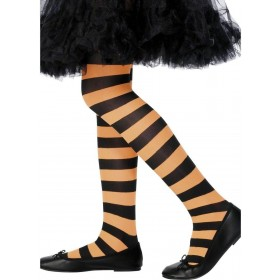 Tights Orange & Black Striped Kids 8-12, Fancy Dress