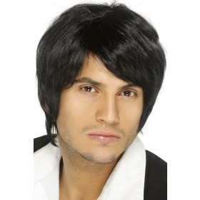 Boy Band Wig - Fancy Dress Mens - Black