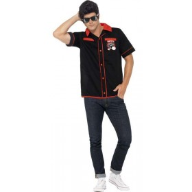Men'S 50'S Style Bowling Shirt Fancy Dress Costume