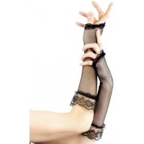 Fingerless Fishnet Gloves Black - Fancy Dress Ladies