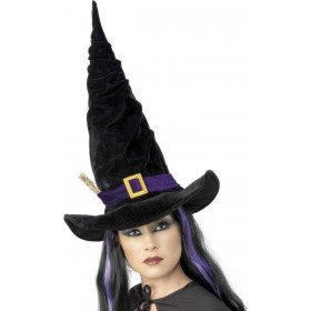 Witch Hat Black With Purple Belt - Fancy Dress Ladies (Halloween)